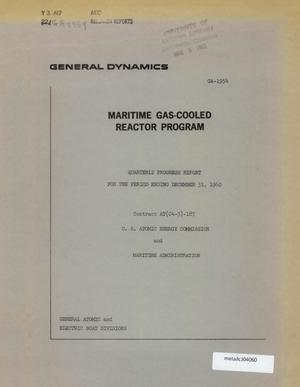 Primary view of object titled 'Maritime Gas-Cooled Reactor Program, Quarterly Progress Report: October-December 1960'.