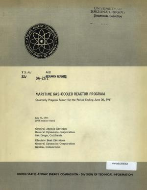 Primary view of object titled 'Maritime Gas-Cooled Reactor Program, Quarterly Progress Report: April-June 1961'.