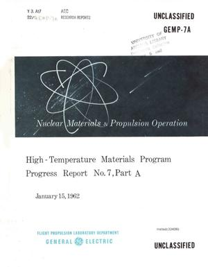 Primary view of object titled 'High Temperature Materials Program Progress Report: Number 7, Part A'.