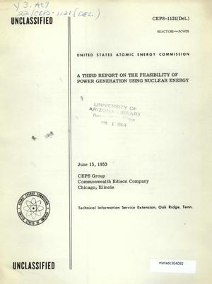 Primary view of object titled 'A Third Report on the Feasibility of Power Generation Using Nuclear Energy'.