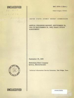 Primary view of object titled 'Annual Progress Report, USAEC Study Agreement: 1954-1955'.