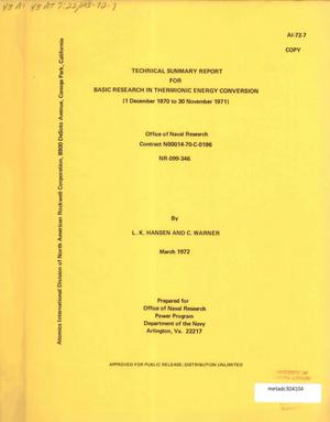 Primary view of object titled 'Technical Summary Report for Basic Research in Thermionic Energy Conversion: 1 December 1970 to 30 November 1971'.