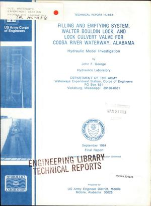 Primary view of object titled 'Filling and Emptying System, Walter Bouldin Lock, and Lock Culvert Valve for Coosa River Waterway, Alabama : Hydraulic Model Investigation'.