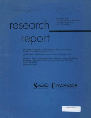 Primary view of object titled 'Interim Report on Investigation of Dynamic Characteristics of Relays: June-July 1959'.