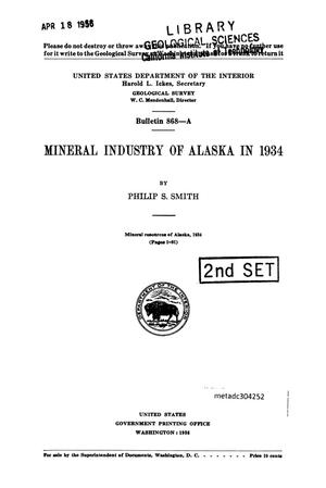 Primary view of object titled 'Mineral industry of Alaska in 1934'.