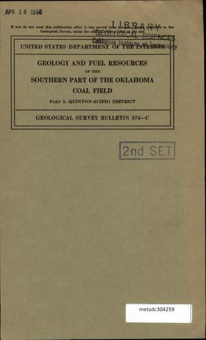 Primary view of object titled 'Geology and Fuel Resources of the Southern Part of the Oklahoma Coal Field: Part 3. Quinton-Scipio District'.