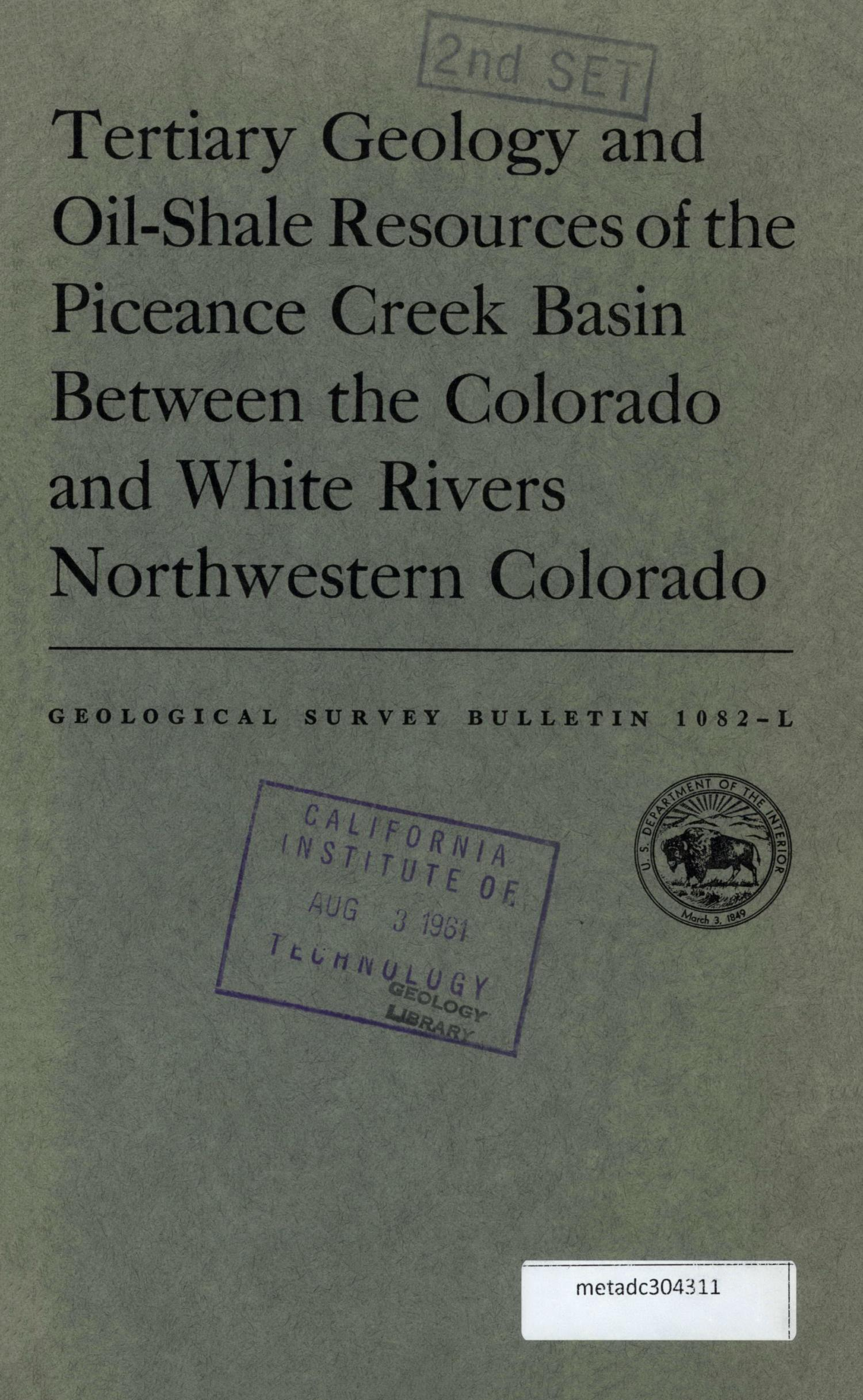 Tertiary Geology and Oil-Shale Resources of the Piceance Creek Basin, Between the Colorado and White Rivers, Northwestern Colorado                                                                                                      Front Cover