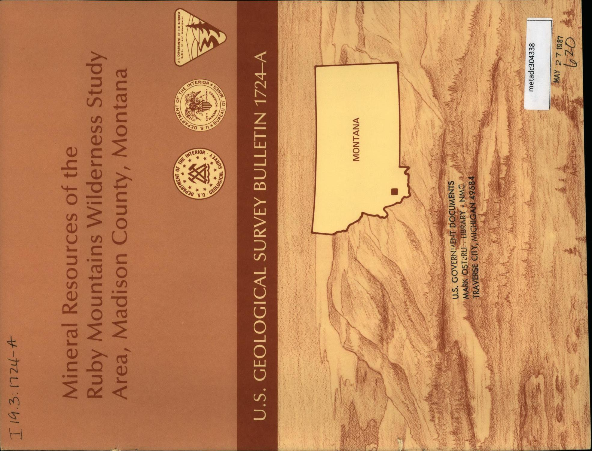 Mineral Resources of the Ruby Mountains Wilderness Study Area, Madison County, Montana                                                                                                      Front Cover