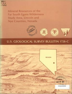 Primary view of object titled 'Mineral Resources of the Far South Egans Wilderness Study Area, Lincoln and Nye Counties, Nevada'.