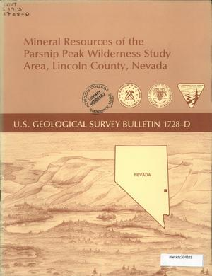 Primary view of object titled 'Mineral Resources of the Parsnip Peak Wilderness Study Area, Lincoln County, Nevada'.