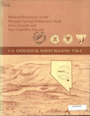 Primary view of object titled 'Mineral Resources of the Weepah Spring Wilderness Study Area, Lincoln and Nye Counties, Nevada'.