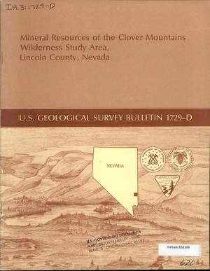 Primary view of object titled 'Mineral Resources of the Clover Mountains Wilderness Study Area, Lincoln County, Nevada'.
