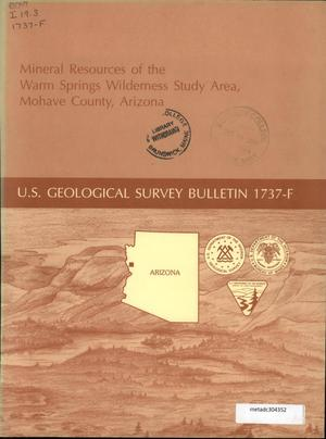 Primary view of object titled 'Mineral Resources of the Warm Springs Wilderness Study Area, Mohave County, Arizona'.