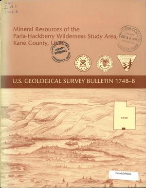Primary view of object titled 'Mineral Resources of the Paria-Hackberry Wilderness Study Area, Kane County, Utah'.