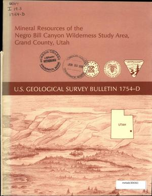Primary view of object titled 'Mineral Resources of the Negro Bill Canyon Wilderness Study Area, Grand County, Utah'.
