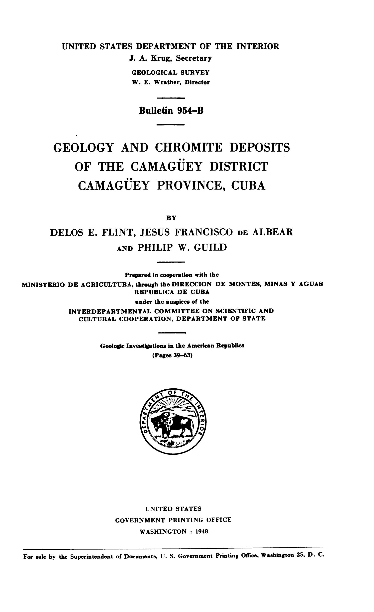 Geology and Chromite Deposits of the Camagüey District, Camagüey Province, Cuba                                                                                                      Title Page