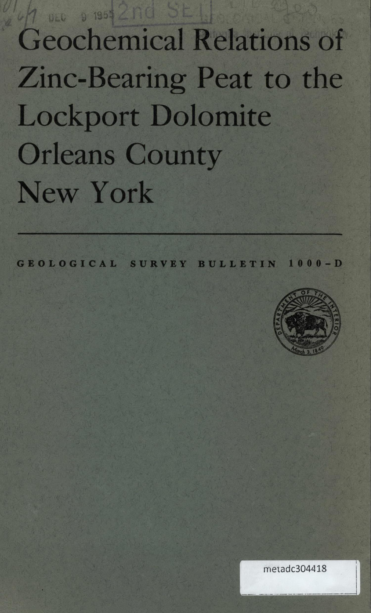 New york orleans county - Geochemical Relations Of Zinc Bearing Peat To The Lockport Dolomite Orleans County New York Digital Library