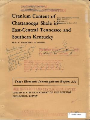 Primary view of object titled 'Uranium Content of Chattanooga Shale in East-Central Tennessee and Southern Kentucky'.