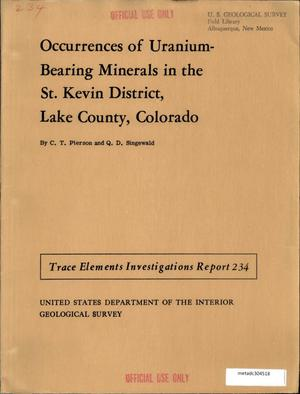 Primary view of object titled 'Occurrences of Uranium-Bearing Minerals in the St. Kevin District, Lake County, Colorado'.