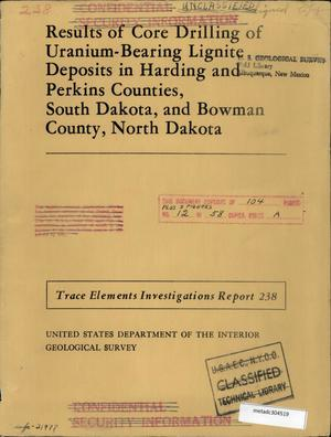 Primary view of object titled 'Results of Core Drilling of Uranium-Bearing Lignite Deposits in Harding and Perkins Counties, South Dakota, and Bowman County, North Dakota'.