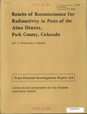 Primary view of object titled 'Results of Reconnaissance for Radioactivity in Parts of the Alma District, Park County, Colorado'.