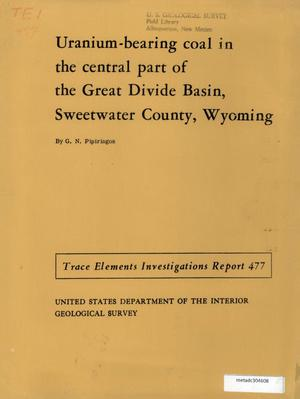 Primary view of object titled 'Uranium-Bearing Coal in the Central Part of the Great Divide Basin, Sweetwater County, Wyoming'.