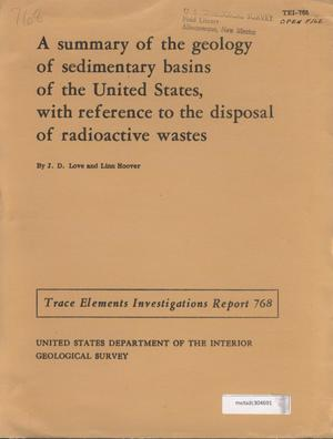 Primary view of object titled 'Geology of the Michigan Basin with Reference to Subsurface Disposal of Radioactive Wastes'.