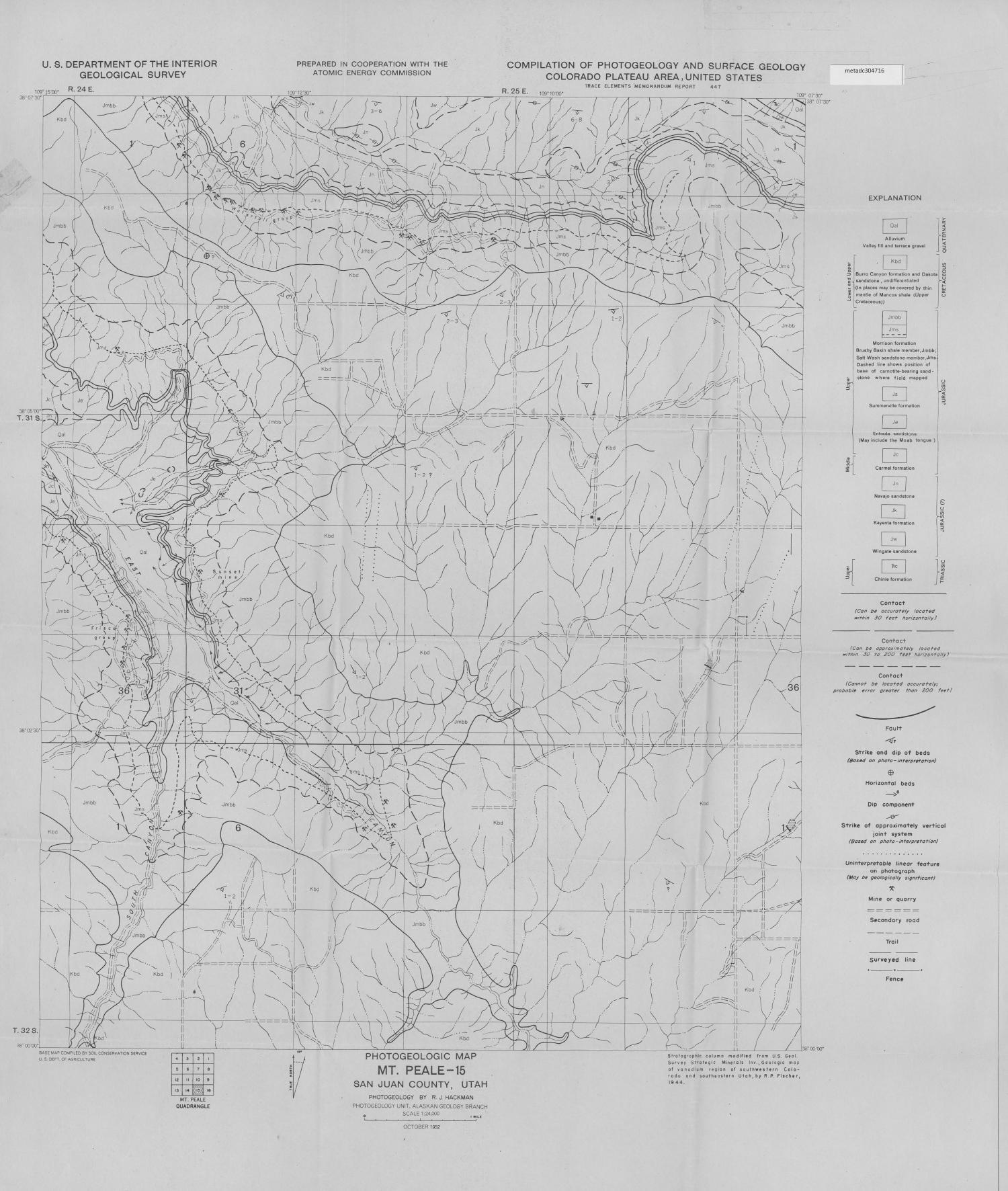 San Juan River Utah Map.Photogeologic Map Mt Peale 15 Quadrangle San Juan County Utah
