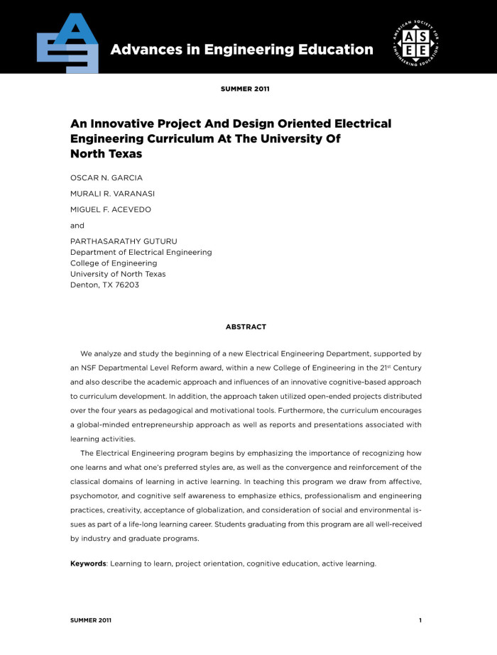 An Innovative Project And Design Oriented Electrical Engineering Curriculum At The University Of North Texas Unt Digital Library