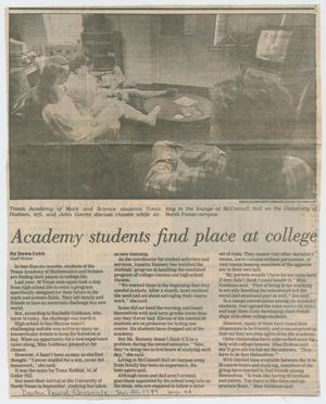 [Clipping: Academy students find place at college]