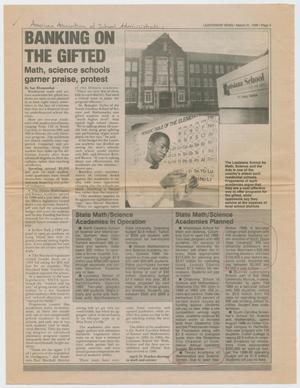 Primary view of object titled '[Four Pages from Leadership News, March 1988]'.