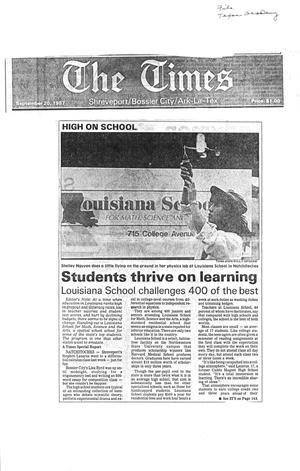 Primary view of object titled '[Clipping: Students thrive on learning: Louisiana School challenges 400 of the best #1]'.