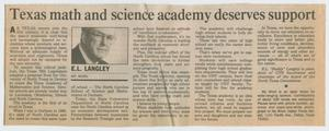 [Clipping: Texas math and science academy deserves support]