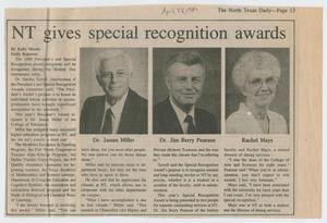 [Clipping: NT gives special recognition awards]
