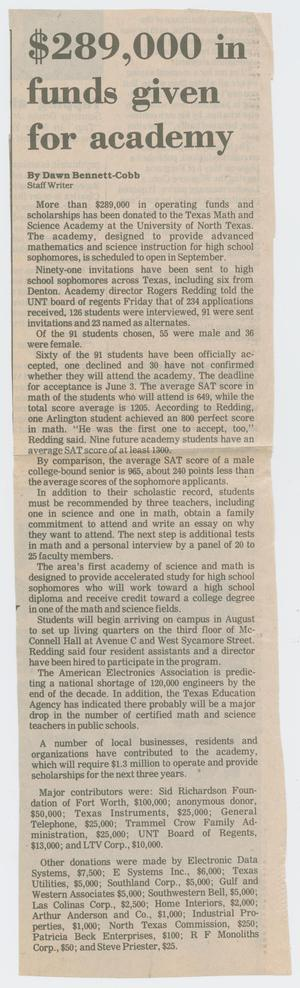 [Clipping: $289,000 in funds given for academy]