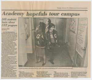 [Clipping: Academy hopefuls tour campus: 500 students learn about UNT program]