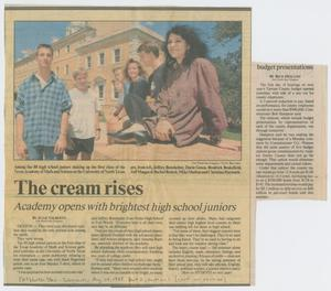 [Clipping: The cream rises: Academy opens with brightest high school juniors]
