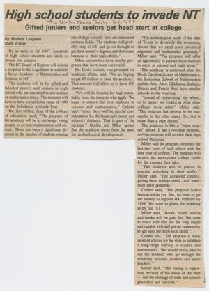[Clipping: High school students to invade NT: Gifted juniors and seniors get head start at college]