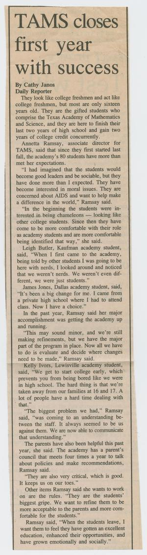 [Clipping: TAMS closes first year with success]