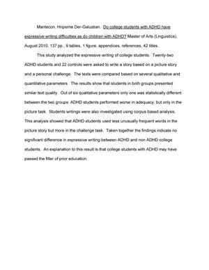 Do College Students with ADHD have Expressive Writing Difficulties
