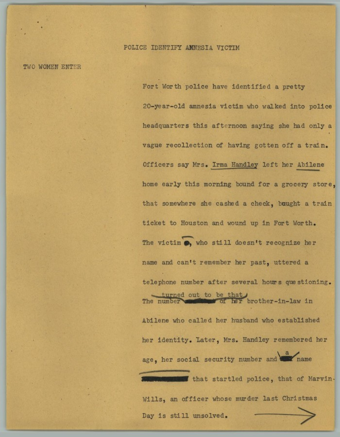 News Script: Police Identify Amnesia Victim] - Digital Library