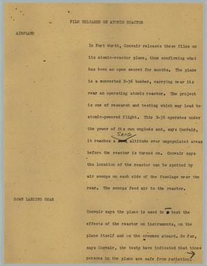 Primary view of object titled '[News Script: Film Released on Atomic Reactor]'.