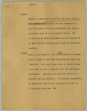 Primary view of object titled '[News Script: Como]'.