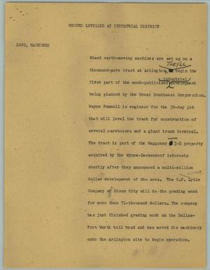 Primary view of object titled '[News Script: Ground Leveled at Industrial District]'.