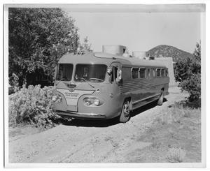 Primary view of object titled '[Princeton Film Center Bus Stopped in the Road]'.