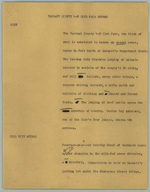 Primary view of object titled '[News Script: Tarrant County 4-H Club fair opened]'.