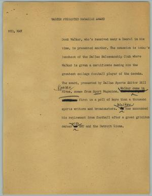 Primary view of object titled '[News Script: Walker Presented Magazine Award]'.