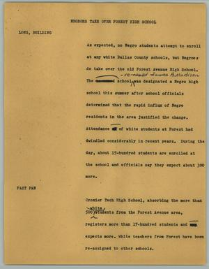 Primary view of object titled '[News Script: Negroes take over Forest High School]'.
