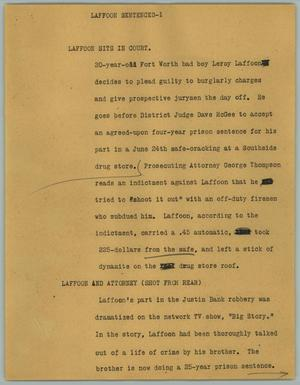 Primary view of object titled '[News Script: Laffoon Sentenced]'.