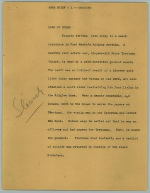 Primary view of object titled '[News Script: Suicide]'.